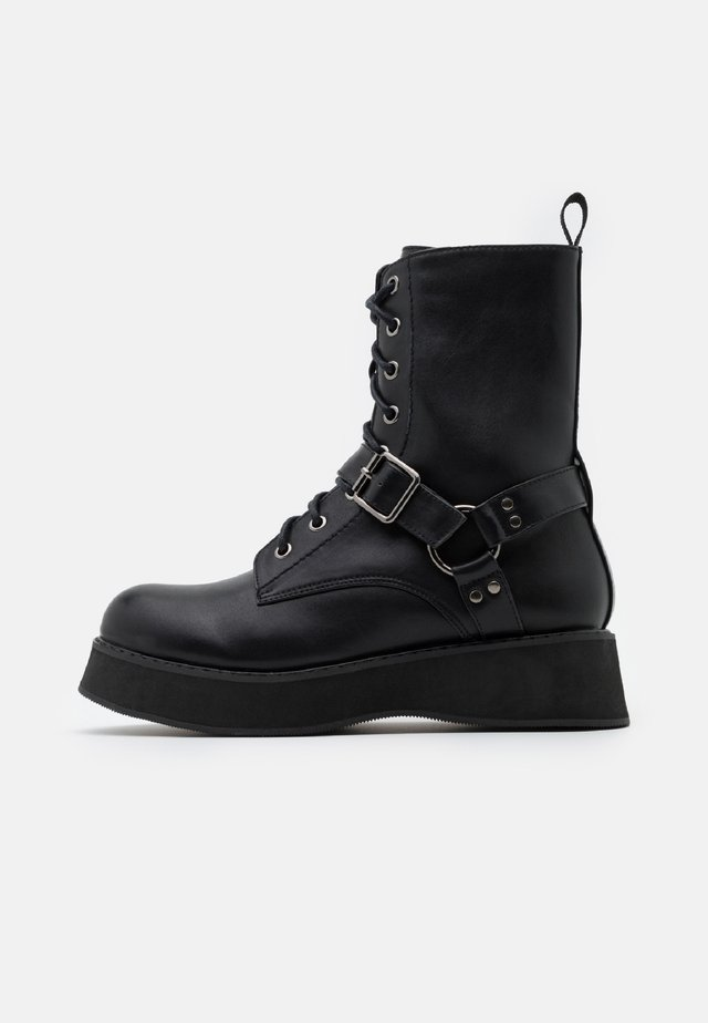 VEGAN - Bottines à plateau - black
