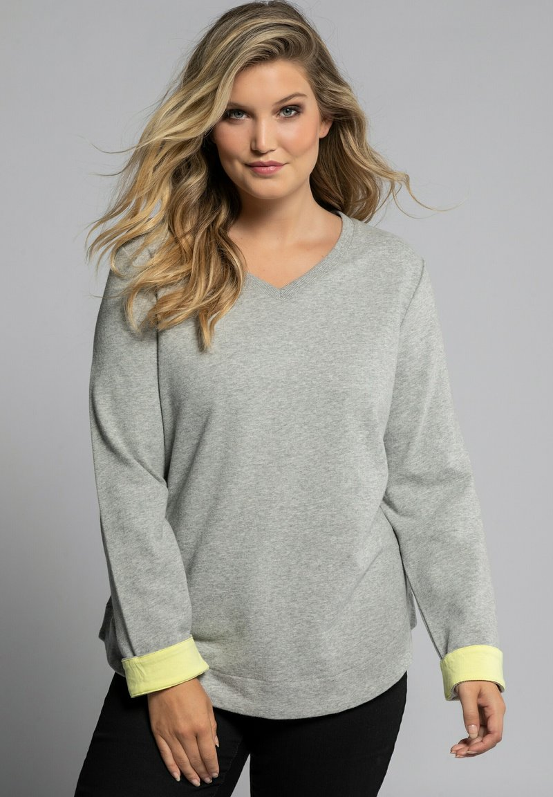 Ulla Popken - Sweatshirt - hellgrau-melange