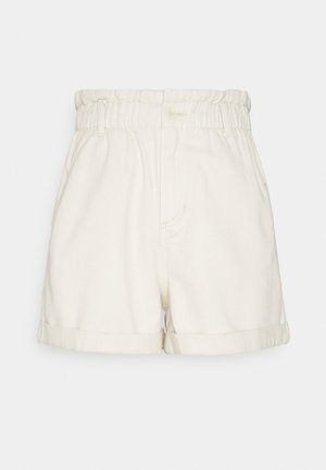 CONSTRUCTED PAPERBAG - Denim shorts - soft creme/beige