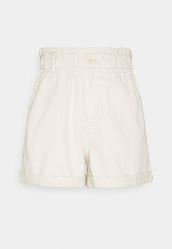 CONSTRUCTED PAPERBAG - Denim shorts - soft creme/beige