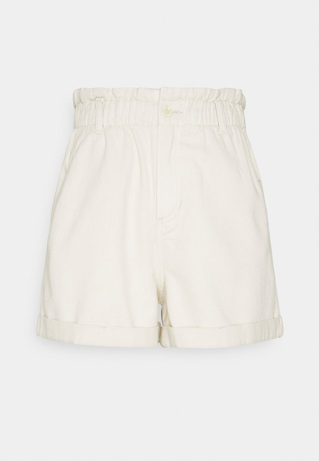 CONSTRUCTED PAPERBAG - Shorts di jeans - soft creme/beige