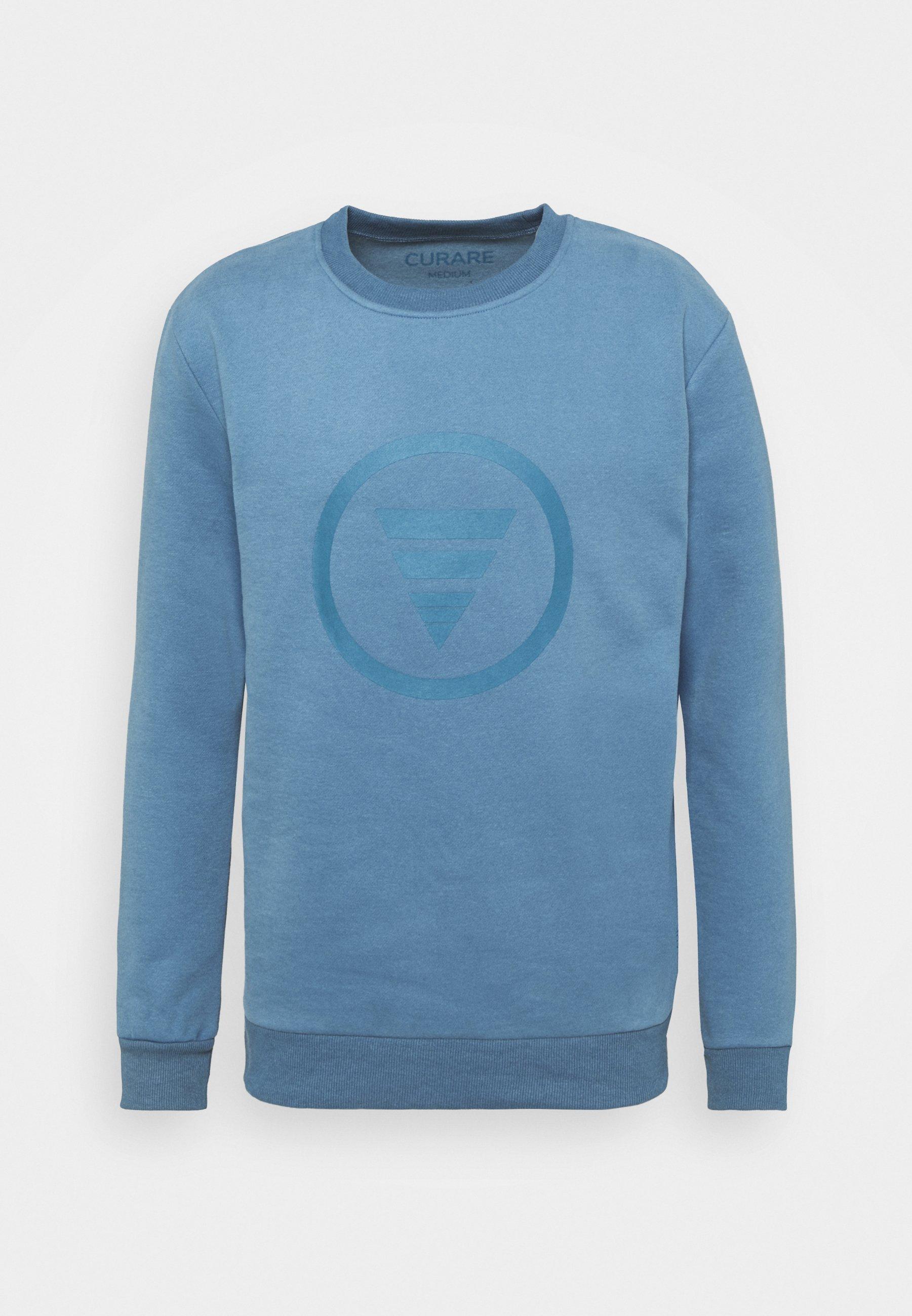 Men ROUND NECK  CHEST PRINT - Sweatshirt - light blue