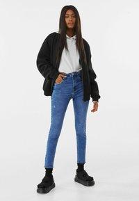 Bershka - SUPER HIGH WAIST - Jeans Skinny Fit - dark blue - 1