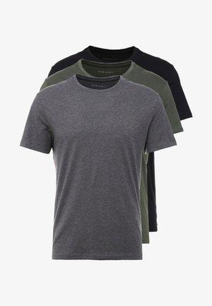 3 PACK - T-shirt basique - black/grey/green