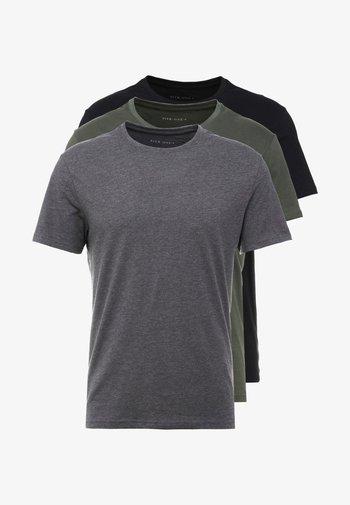 3 PACK - T-paita - black/grey/green