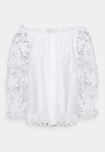 BRODERIE ANGLAISE GATHERED - Blouse - fresh white