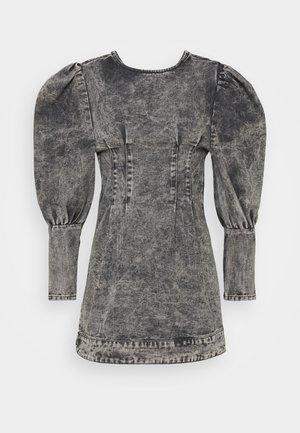 PUFF SLEEVE DRESS - Vestito di jeans - black