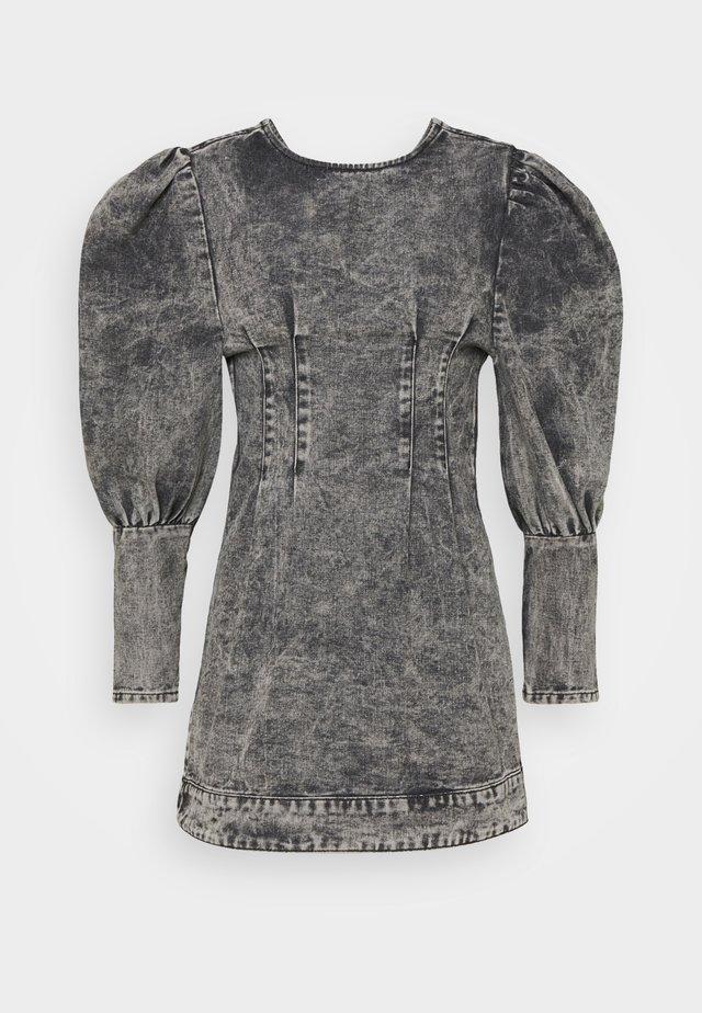 PUFF SLEEVE DRESS - Sukienka jeansowa - black