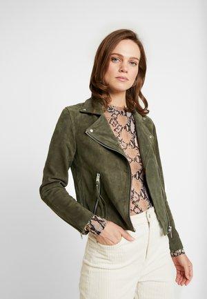 DALBY BIKER - Leather jacket - emerald green