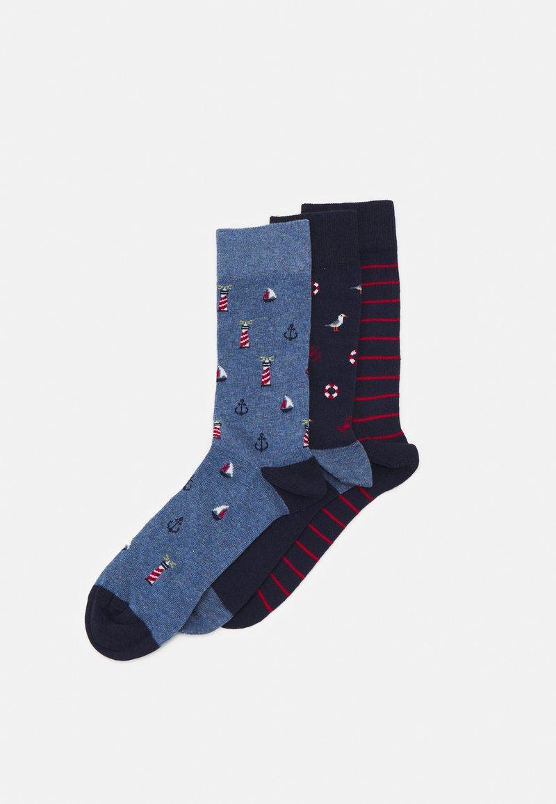 Pier One - 3 PACK - Socks - dark blue/mottled blue/red