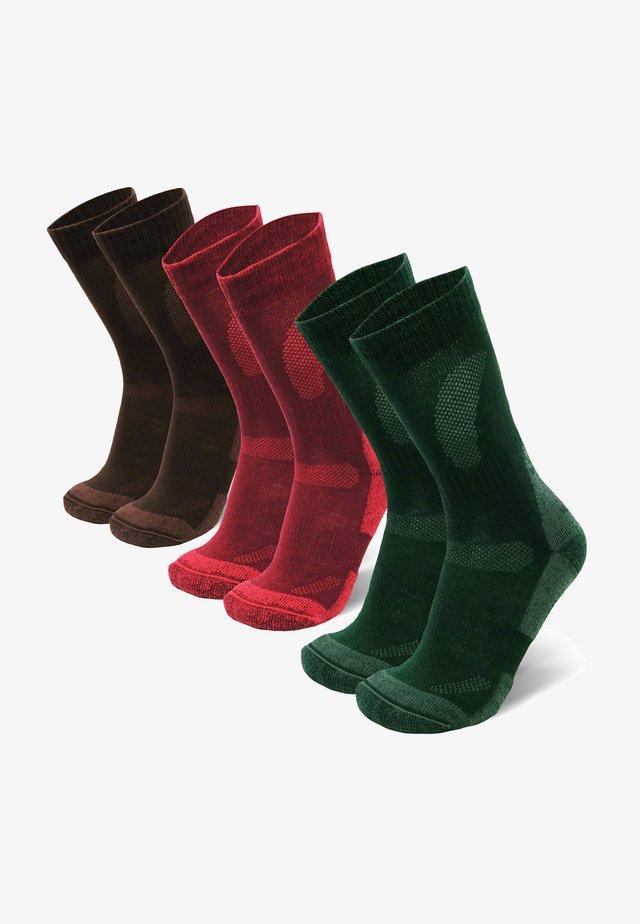 3 PACK - Strumpor - multicolor (green, brown, red)