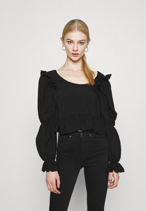 TEXTURED PEPLUM TEA  - Long sleeved top - black