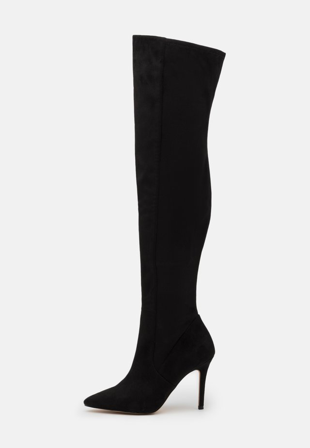 IDEEZA - Overknee laarzen - open black