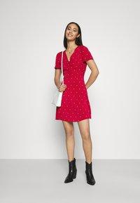 Missguided - HALF BUTTON TEA DRESS  - Shirt dress - red polka - 1