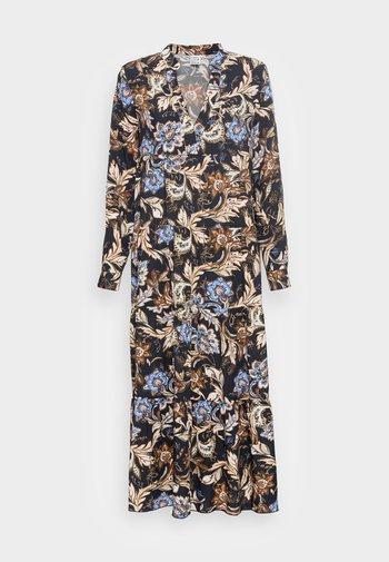 DRESS - Maxi dress - navy/brown
