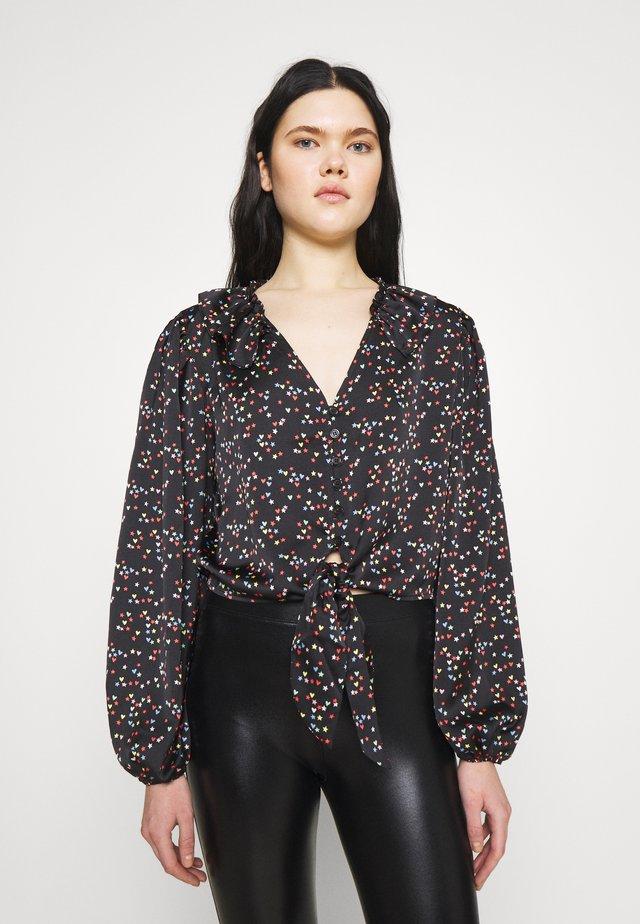 STAR & HEART TIE FRONT - Bluzka - black/multi-coloured