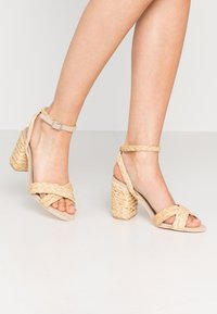 Nly by Nelly - BRAIDED BLOCK HEEL  - High heeled sandals - natural - 0