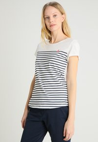 TOM TAILOR DENIM - STRIPE SLUB TEE - Triko s potiskem - off white - 0