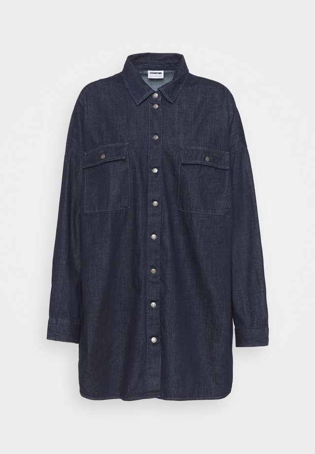 NMFLANNY LONG SHACKET - Krátký kabát - dark blue denim