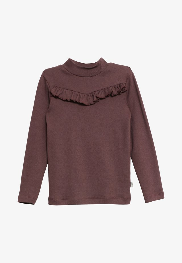 RIB RUFFLE - Long sleeved top - soft eggplant