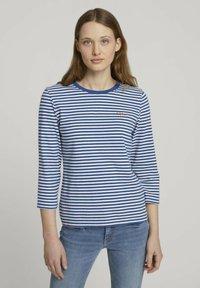 TOM TAILOR DENIM - Long sleeved top - indigo blue creme stripe - 0