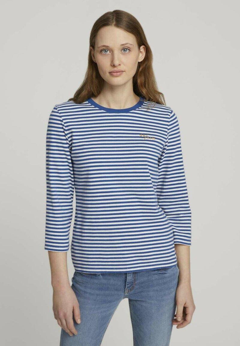 TOM TAILOR DENIM - Long sleeved top - indigo blue creme stripe