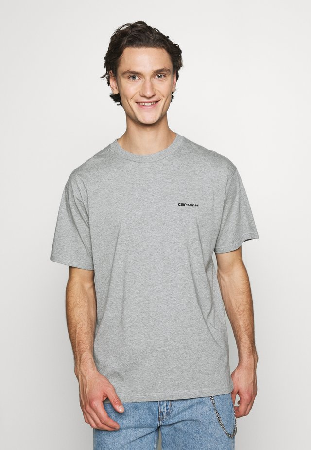SCRIPT EMBROIDERY - T-shirt basic - grey heather/black