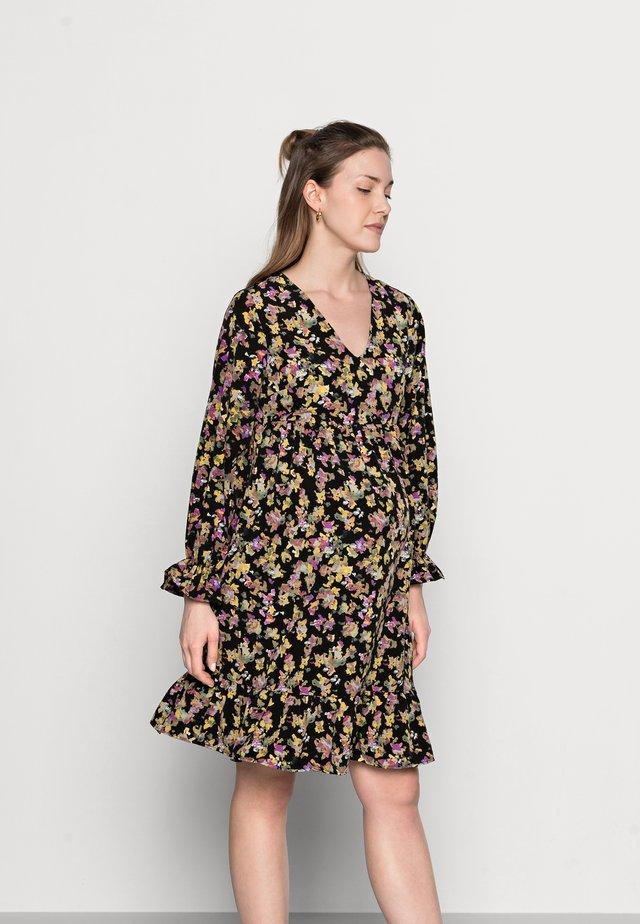 MLEMRA WOVEN DRESS  - Korte jurk - black/snow white / fall leaf /dewberry
