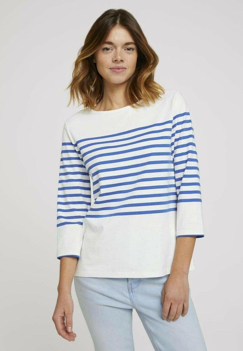 TOM TAILOR DENIM - Long sleeved top - blue white