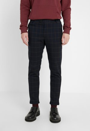 COMO CHECK SUIT PANTS - Trousers - dark navy/light brown
