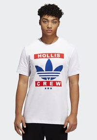 adidas Originals - RUN DMC TEE - T-shirt z nadrukiem - white /black /scarlet red - 0