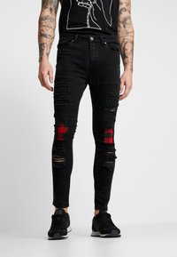 Brave Soul - VEGAS - Jeansy Skinny Fit - charcoal wash/red - 0