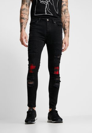 VEGAS - Vaqueros pitillo - charcoal wash/red
