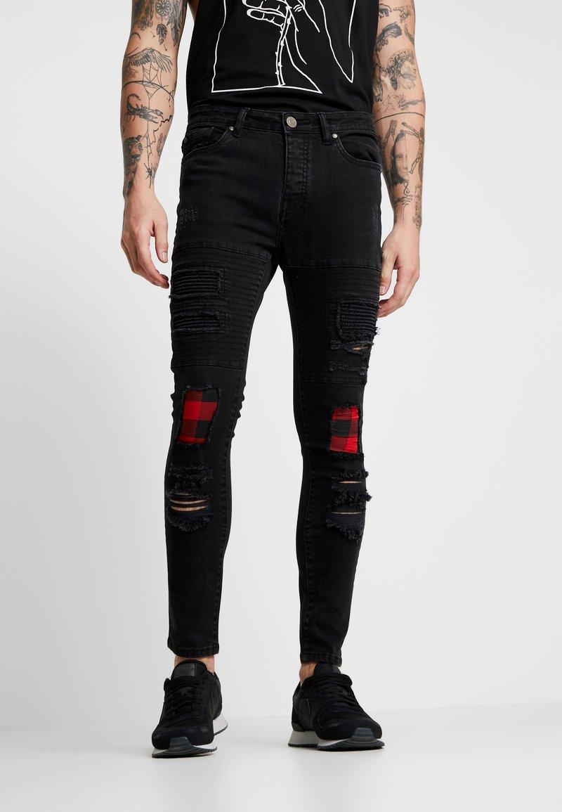 Brave Soul - VEGAS - Jeansy Skinny Fit - charcoal wash/red