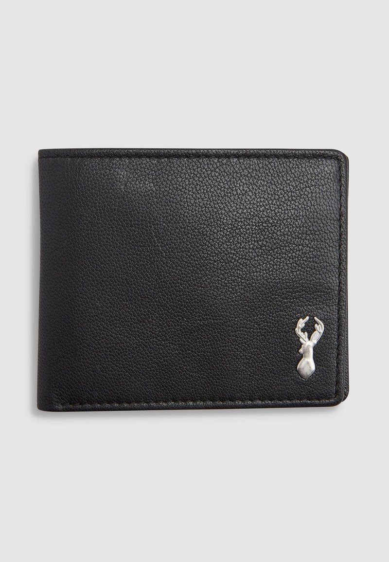Next - BLACK LEATHER STAG BADGE EXTRA CAPACITY WALLET - Wallet - black