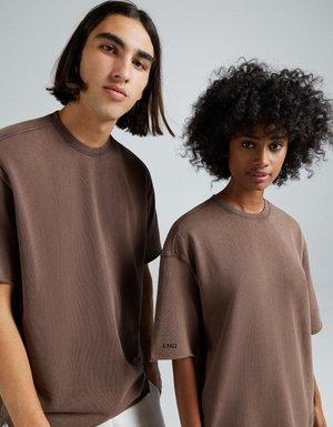 OVERSIZED SHORT SLEEVE SWEAT - T-shirt - bas - brown