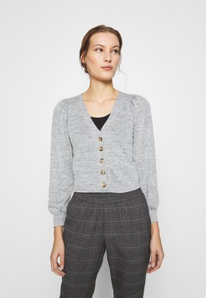 PUFF SLEEVE BRUSHED CARDIGAN - Cardigan - grey