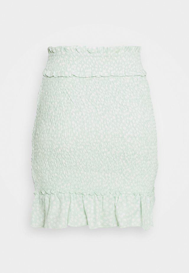 SMOCKED MINI SKIRT - Mini skirts  - green
