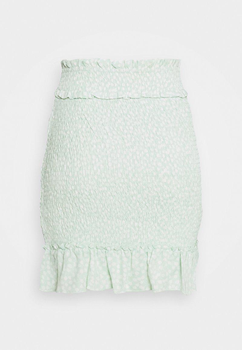 NA-KD - SMOCKED MINI SKIRT - Spódnica mini - green