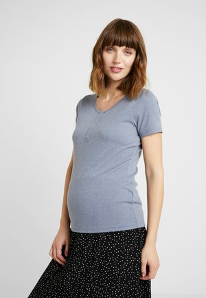 MATERNITY HENLEY SHORT SLEEVE - T-shirts - grisaille