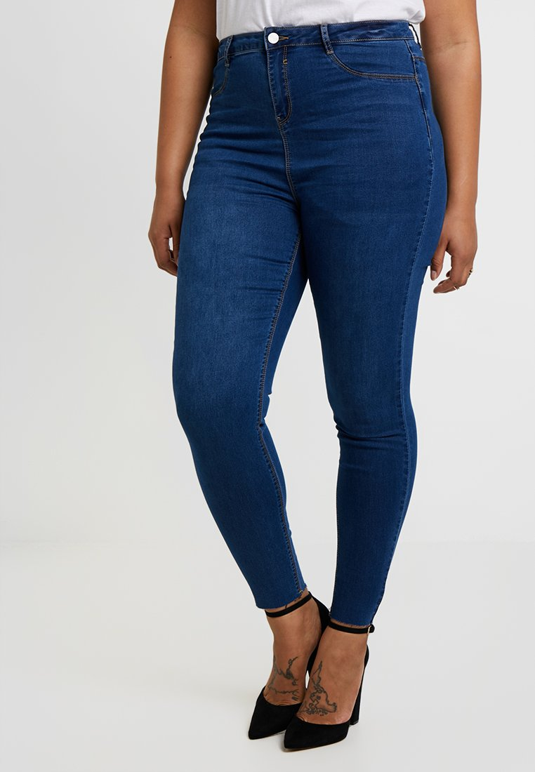 Missguided Plus - LAWLESS HIGHWAISTED SUPERSOFT - Jeansy Skinny Fit - blue