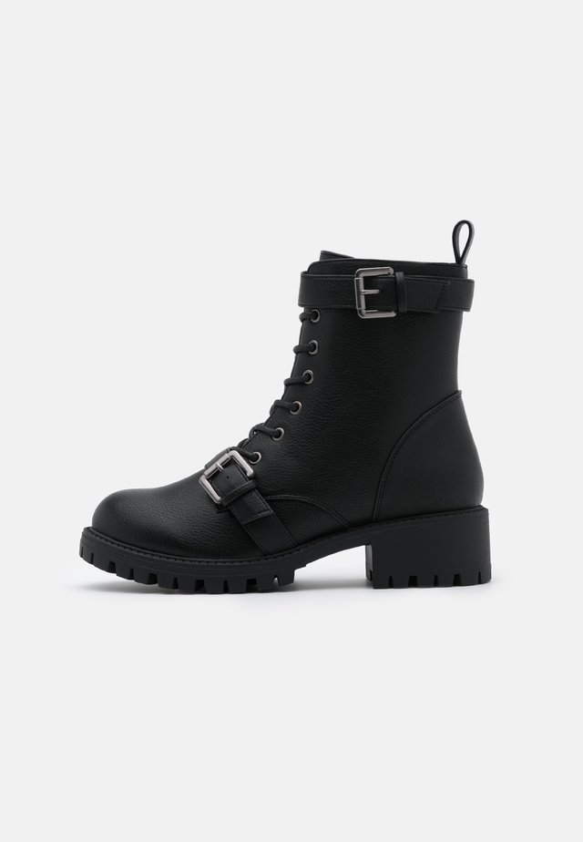 DUA LACE UP BOOT - Nauhalliset nilkkurit - black smooth