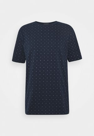 CLASSIC CREWNECK TEE WITH ALL OVER PATTERN - T-shirt med print - dark blue