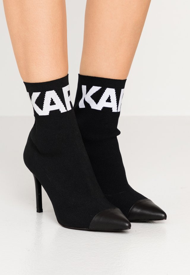COLLAR ANKLE  - High heeled ankle boots - black