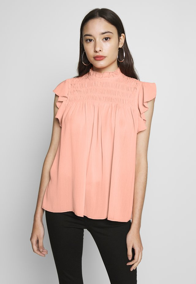 DITSY PRINTED SHIRRED HIGH NECK  - Blouse - apricot