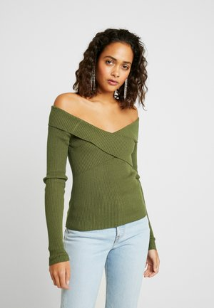 OBJFEVA OFF SHOULDER - Jumper - forest night