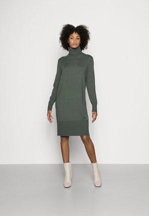 HEAVY DRESS LONGSLEEVE TURTLE NECK - Pletené šaty - fresh moss