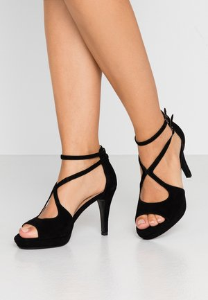 LEATHER HEELED SANDALS - High heeled sandals - black