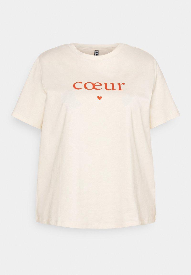 Pieces Curve - PCRAISE TEE - Print T-shirt - whitecap gray