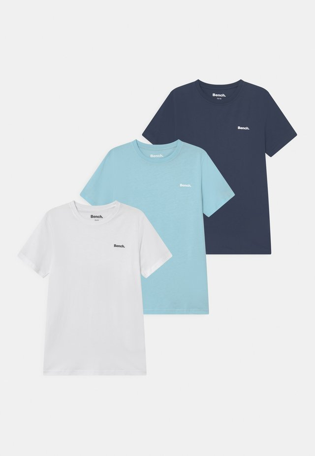 MAYCROSS 3 PACK - T-shirts basic - white/navy/sky